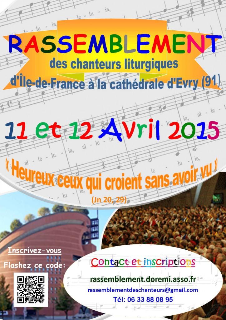 Affiche Rassemblement des chanteurs liturgiques à Evry - 11 & 12 Avril 2015
